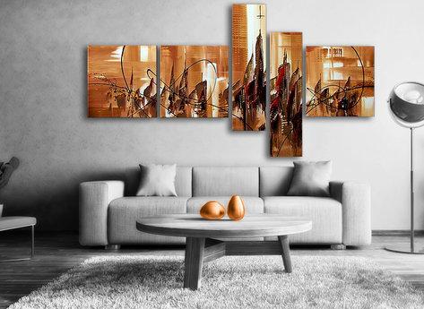Abstrakt Tavla / Oljemålning The Sand City