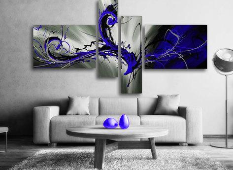 Abstrakt Oljemålning Blue Storm