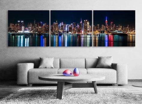 Manhattan´s Light - Panorama tavla i 3 delar