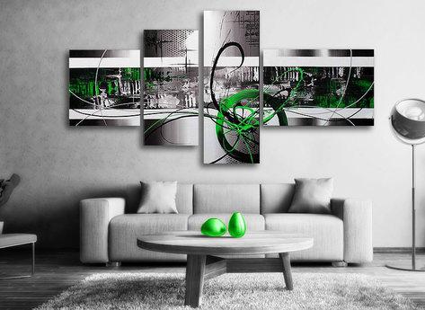 Abstrakt Green Day - Grön Abstrakt tavla