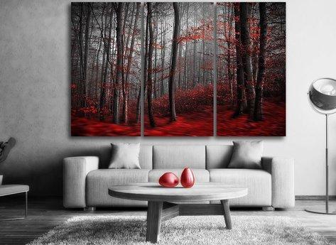 Röd Skog Tavla - Magiskt vacker tavla i tre delar