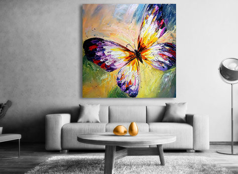 Fjäril tavla - Handmålad