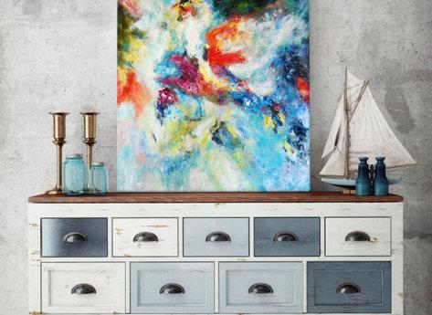Blå Hav - Abstrakt Tavla i blåa nyanser
