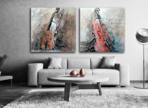 Stilleben Cello - Tavla i Gul, bruna färger