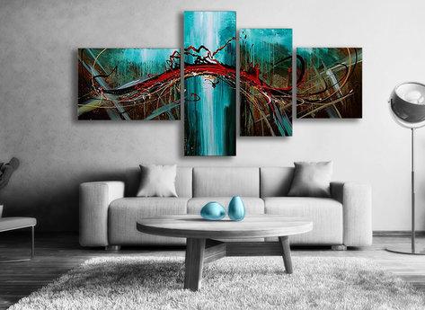 Oljemålningar i delar - Abstrakt Aqua