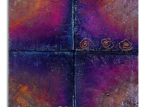 Abstrakt Oljemålning Blue Night