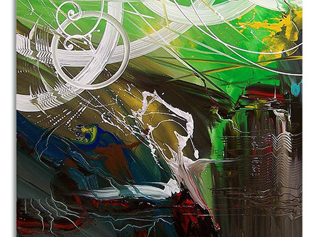 Abstrakt Oljemålning Green Giant