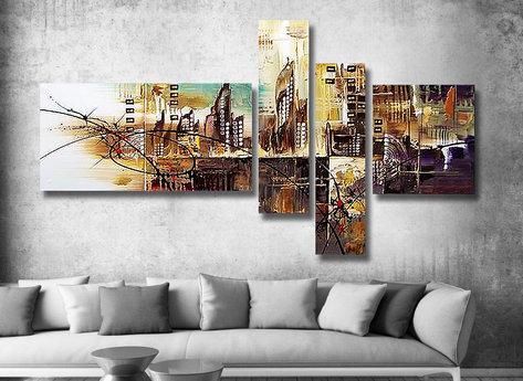 Abstrakt Oljemålning Diamond City