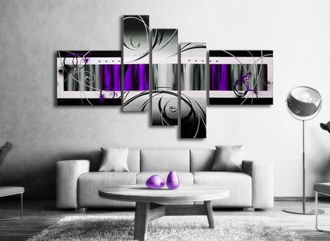 Abstrakt Oljemålning Lovely - Tavla i lila färg