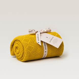 Ollie Mustard Cotton Blanket