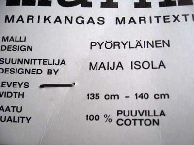 """MAIJA ISOLA """" PYÖRYLÄINEN """" 1960 MARIMEKKO"""