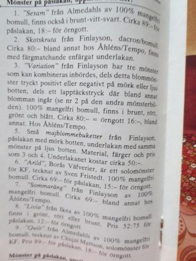 Almedahls, mönsterprover från 1975