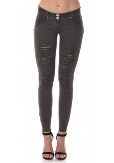 WR.UP® Denim Shaping Effect - Mid Waist Ripped - Faded Black(N)
