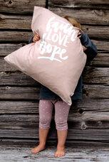 Matt rosa kuddfodral av Öko-tex-bomull: Faith LOVE hope