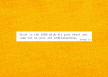 Gult, mönstrat litet vykort med bibelord: Trust in the Lord with all your heart