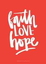A4-poster i rött: Faith LOVE Hope