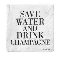 Servetter Save water Drink Champagne Svart