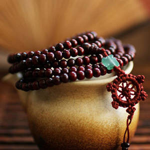 Mala Armband / Halsband  - Burgandy med Jade Lycka Symbol