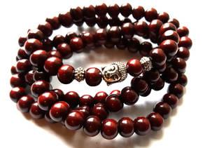 Buddha Armband - Röd Trä - 4 VARV