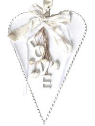 Hjärta LOVE stort hänge antik vit  metall trähjärtan spets shabby chic lantlig stil