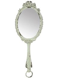 Spegel vit romantisk handspegel i antik-vit metall och strass shabby chic lantlig stil