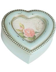 Ask trälåda ljusblå hjärta rosor pärlkant för foto shabby chic lantlig stil