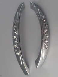 Draghandtag handtag krom glas diamant silver färgad shabby chic lantlig stil