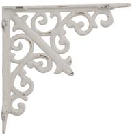 Antikvit vit konsoll liten hyllbärare gjutjärn snirklig shabby chic lantlig stil
