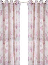 Gardinlängder 2 st öljettlängder Voile vita rosa fjärilar trollsländor shabby chic lantlig stil