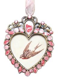 Ram rosa hjärta strass rosett shabby chic lantlig stil