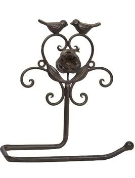 Hållare toalettpapper Toarullshållare antik brun smide fågel ros fransk lantstil shabby chic lantlig stil