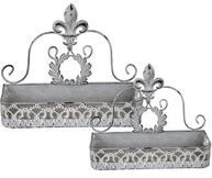 Hylla blomlåda snirklig metall för vägg shabby chic lantlig stil