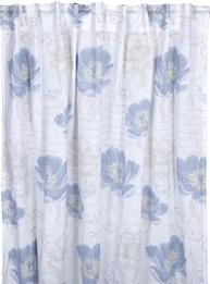 2 st Gardinlängder vita blå bergsvallmo shabby chic lantlig stil