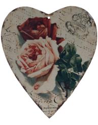 Stort hjärta i plåt rosor shabby chic lantlig stil fransk lantstil