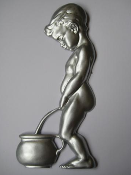 Toalett skylt retro silver kissepojke shabby chic lantlig stil