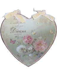Skylt plåtskylt hjärta i plåt Dream rosor sammetsband shabby chic lantlig stil fransk lantstil