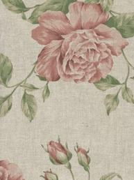 Textilvaxduk rosa rosor linne-färgad botten shabby chic lantlig stil