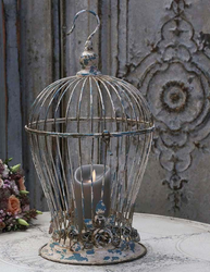 Stor antikfärgad fågelbur rosor  shabby chic lantlig stil fransk lantstil