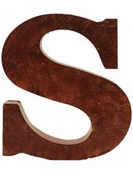 S stor plåtbokstav rostbrun färg industristil