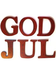 Stora mörkt röda träbokstäver GOD JUL shabby chic lantlig stil