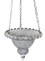 Ampel liten zink grå plåt blomampel shabby chic lantlig stil