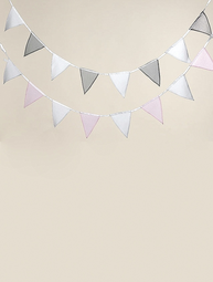 Flaggspel vimplar pastell rosa vit / grå vit shabby chic lantlig stil