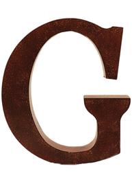 G stor plåtbokstav rostbrun färg industristil