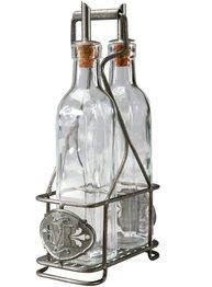 Ställ för olja vinäger zink smide med eller utan glas shabby chic lantlig stil.
