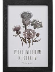 Tavla Every flower blooms in its own time Bloomingville svart träram shabby chic lantlig stil