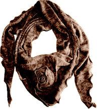 Mullvadsbrun brun sjal stickad med ros