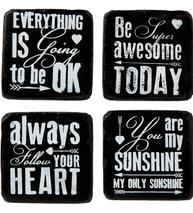 Underlägg glasunderlägg Heart, Sunshine, Awesome, Ok 4 set shabby chic lantlig stil