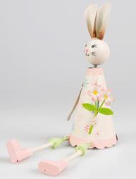 Kanin påskhare kaninflicka sittande rosa shabby chic lantlig stil