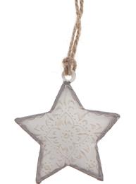 Liten vit stjärna i metall ornamenterad shabby chic lantlig stil