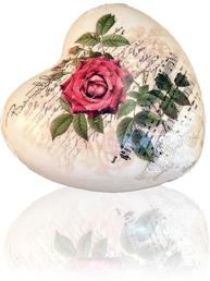 Hjärta ros i keramik shabby chic lantlig stil